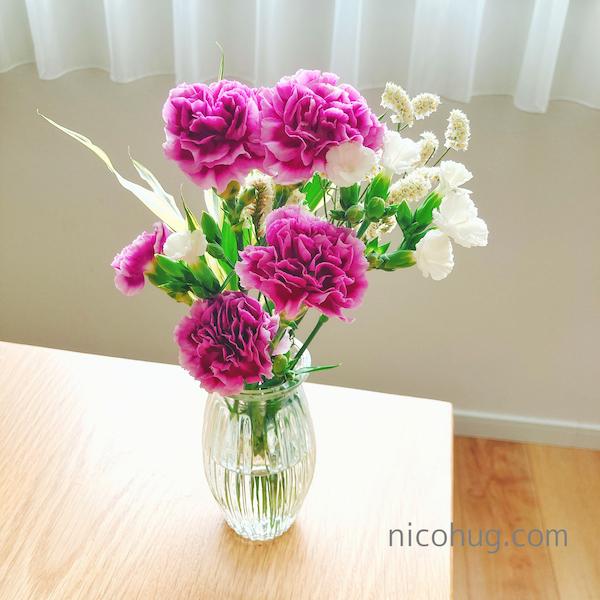 ブルーミーで1回目に届いたお花(カーネーションとなでしこのブーケ)